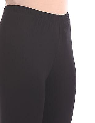 Karigari Black Solid Cotton Stretch Churidar