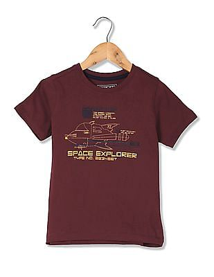 Cherokee Boys Printed Front Cotton T-Shirt