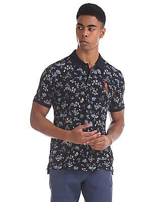 U.S. Polo Assn. Blue Slim Fit Floral Print Polo Shirt