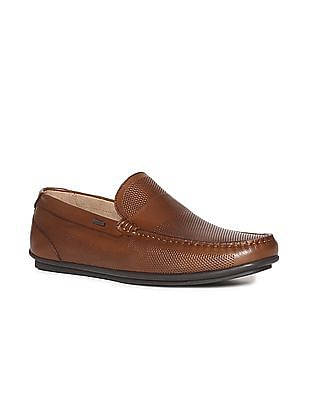 Arrow Brown Textured Leather Loafers