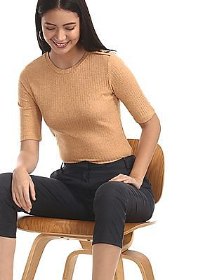 SUGR Beige Short Sleeve Rib Knit Top