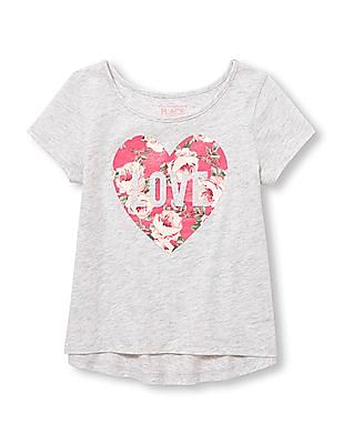 The Children's Place Toddler Girl Short Sleeves Embellished Glitter Top