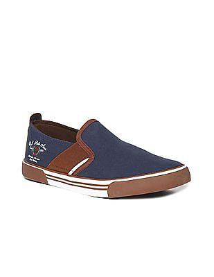 U.S. Polo Assn. Blue Colour Block Canvas Slip On Shoes