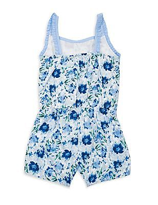 Elle Kids Girls Lace Trim Floral Print Romper