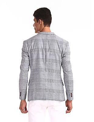 Arrow Newyork Blue Notch Lapel Collar Check Blazer
