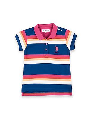 U.S. Polo Assn. Kids Girls Striped Pique Polo Shirt