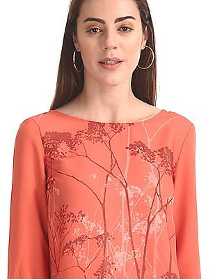 Cherokee Printed Front Round Neck Top