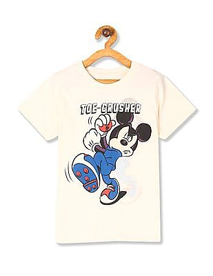 Colt White Boys Crew Neck Mickey Mouse Print T-Shirt