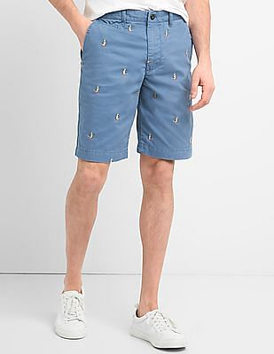 """GAP 10"""" Embroidered Twill Shorts"""