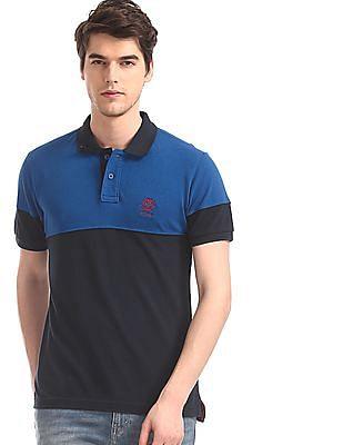 1af0d90e85d U.S. Polo Assn. Blue Cut And Sew Panel Pique Polo Shirt. SHOP NNNOW