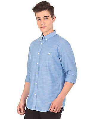 Aeropostale Button Down Collar Slub Weave Shirt