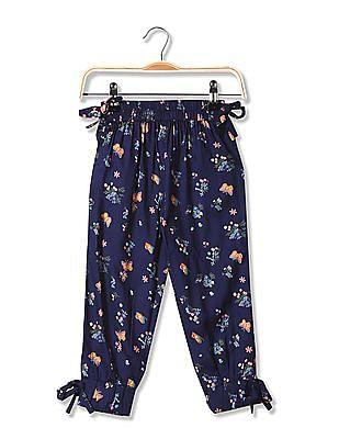 Cherokee Girls Bow Trims Printed Pants