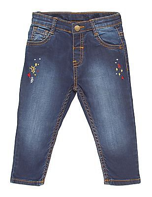 Donuts Girls Stone Wash Embroidered Front Jeans