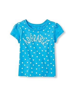 The Children's Place Toddler Girl Blue Short Sleeve 'Adorable' Graphic Tee