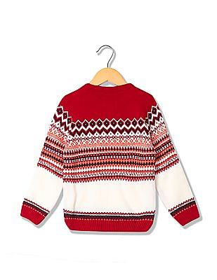 Cherokee Boys Fair Isle Crew Neck Sweater