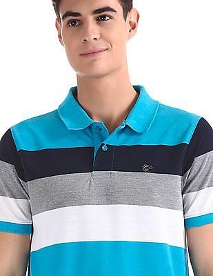 Ruggers Blue Striped Pique Polo Shirt