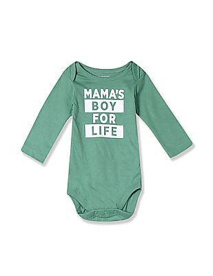 The Children's Place Green Baby Boys Long Sleeve 'Mama's Boy For Life' Graphic Bodysuit