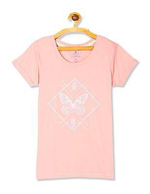 Cherokee Pink Short Sleeve Printed T-Shirt