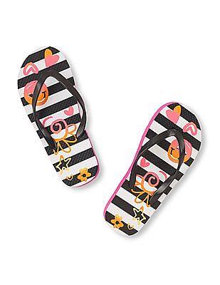 The Children's Place Girls Floral Striped Flip-Flops