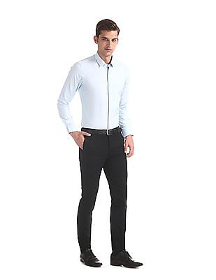 Arrow Newyork Black Super Slim Fit Check Trousers