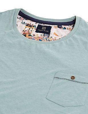 True Blue Slim Fit Cotton Linen T-Shirt
