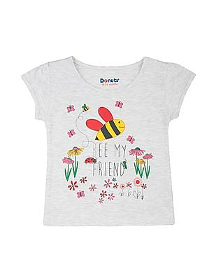 Donuts Girls Printed Heathered T-Shirt