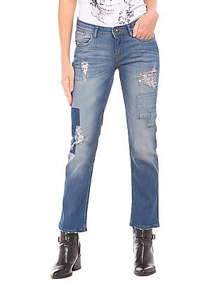 EdHardy Women Patchwork Slim Straight Fit Jeans