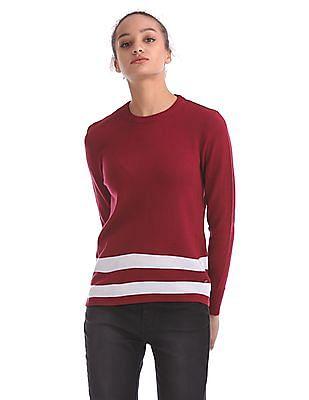 Flying Machine Women Striped Hem Sweater Top