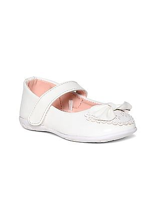Donuts White Girls Bow Accent Patent Ballerinas