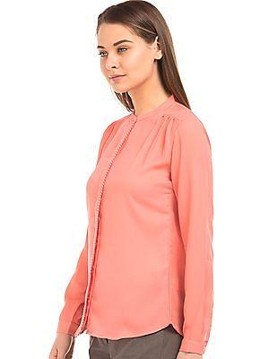 Arrow Woman Solid Mandarin Collar Shirt
