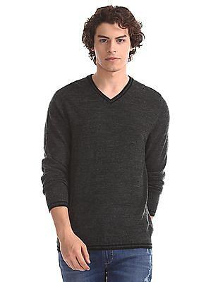 Flying Machine Grey Regular Fit V-Neck Sweater