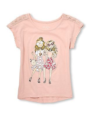 The Children's Place Girls Crochet Trim Graphic Top