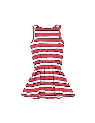 U.S. Polo Assn. Kids Girls Tie Up Front Striped Dress