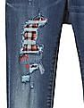 GAP Girls Blue 1969 Plaid Rip And Repair High Stretch Jeggings