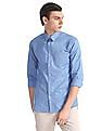 Excalibur Blue Spread Collar Patterned Shirt