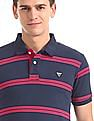Flying Machine Short Sleeve Striped Polo Shirt