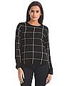 Elle Round Neck Check Sweater