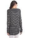 GAP Women Black Long Sleeve Striped Rayon Top