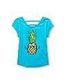 The Children's Place Girls Short Sleeve Flip Sequin Cutout Back Graphic Top