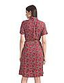U.S. Polo Assn. Women Red Floral Print Shirt Dress