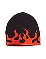 The Children's Place Boys Black Embroidered Flame Beanie