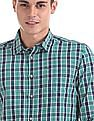 Flying Machine Green Cotton Check Shirt