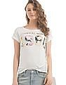 Flying Machine Women Glitter Print Knitted Top