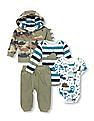 The Children's Place Baby Dino Bodysuits, Camo Hoodie And Pants 4-Piece Playwear Set