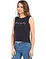 Flying Machine Women Cursive Print High Low Hem Tank Top