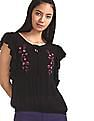 SUGR Black Embroidered Ruffle Top