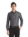 Excalibur Grey Mitered Cuff Patterned Weave Shirt