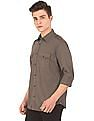 Aeropostale Solid Cotton Twill Shirt