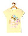 The Children's Place Girls Yellow Short Sleeve Snapcat Graphic Tee