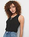 GAP Lace-Up Tank Top In Linen